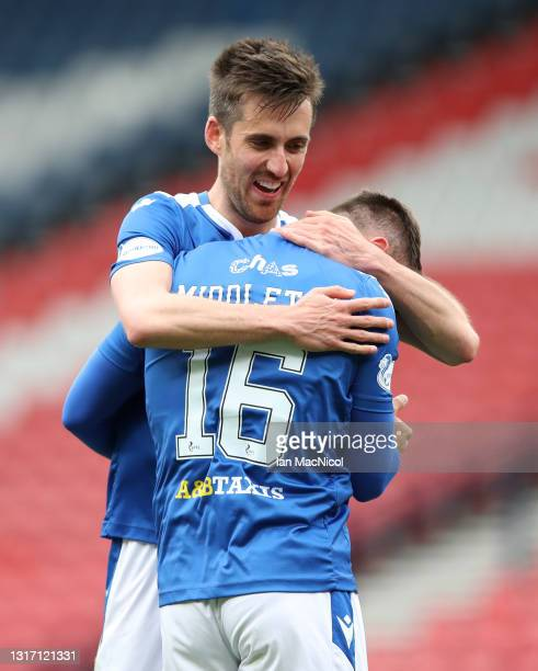 Callum Booth and Glenn Middleton of St Johnstone celebrate victory after the William Hill Scottish Cup Semi-Fianl match between St Mirren and St...