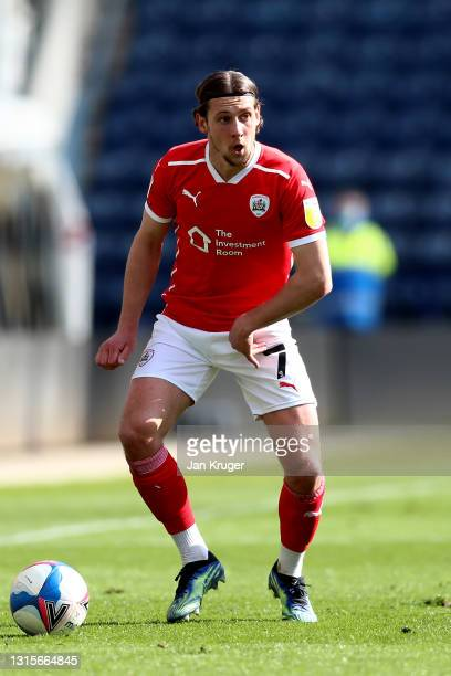 Callum Britain of Barnsley during the Sky Bet Championship match between Preston North End and Barnsley at Deepdale on May 01, 2021 in Preston,...