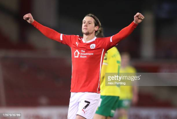 Callum Brittain of Barnsley celebrates following his team's victory in The Emirates FA Cup Fourth Round match between Barnsley and Norwich City at...