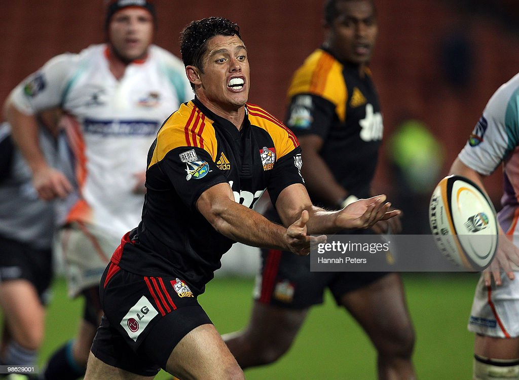 Callum Bruce of the Chiefs passes the ball out during the round 11 Super 14 match between the Chiefs and the Cheetahs at Waikato Stadium on April 23, 2010 in Hamilton, New Zealand.