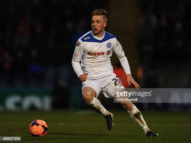 Callum Camps of Rochdale in action during the FA Cup with Budweiser Fourth Round match between Rochdale and Sheffield Wednesday at Spotland on...
