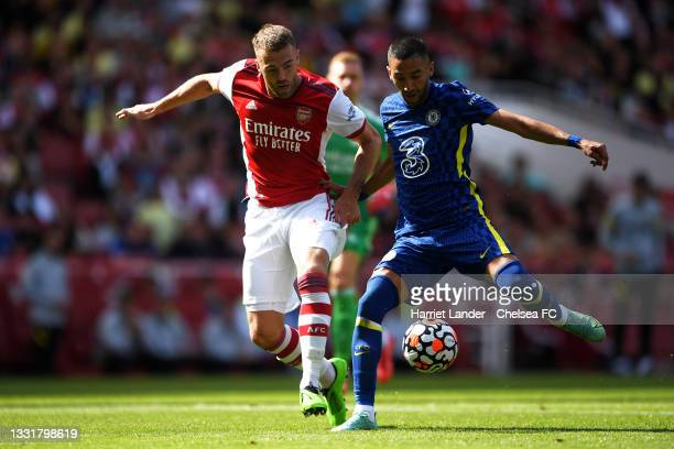 Callum Chambers of Arsenal battles for possession with Hakim Ziyech of Chelsea during the Pre-Season Friendly match between Arsenal and Chelsea at...
