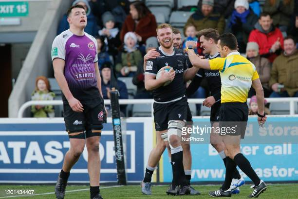 Callum Chick of Newcastle Falcons celebrates his try during the Greene King IPA Championship match between Newcastle Falcons and Cornish Pirates at...