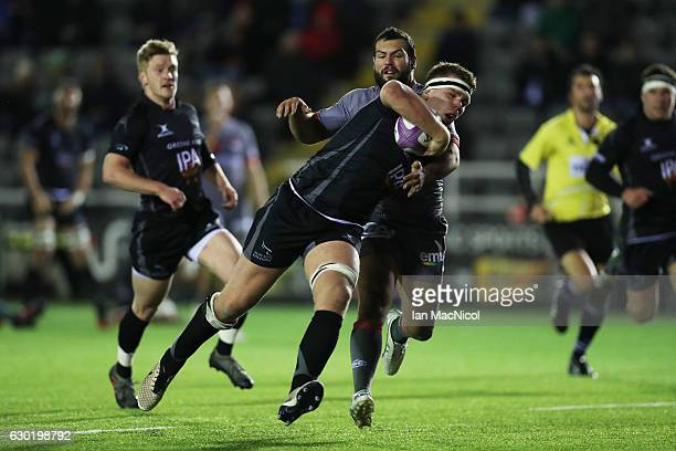 Callum Chick of Newcastle Falcons runs in to score a try during the European Rugby Challenge Cup match between Newcastle Falcons and Lyon at Kingston...