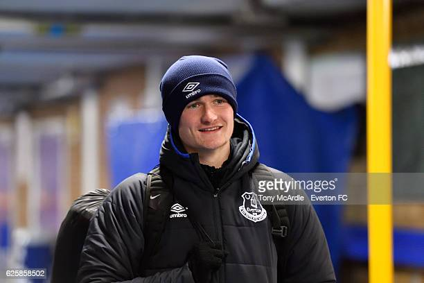 Callum Connolly arrives for the Everton in the Community Sleepover Event at Goodison Park on November 25 2016 in Liverpool England