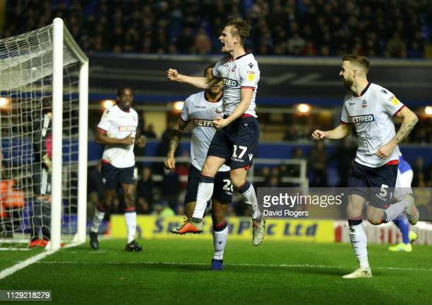 Callum Connolly of Bolton Wanderers celebrates after scoring the first goal during the Sky Bet Championship match between Birmingham City and Bolton...