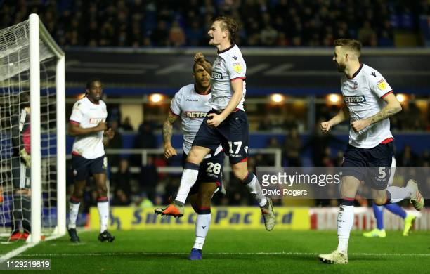 Callum Connolly of Bolton Wanderers celebrates scoring the first goal during the Sky Bet Championship match between Birmingham City and Bolton...