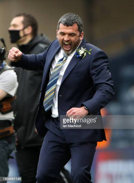 Callum Davidson, Manager of St Johnstone celebrates following the Betfred Cup Final match between Livingston and St Johnstone at Hampden Park on...