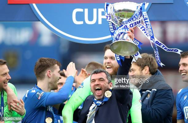 Callum Davidson, Manager of St Johnstone lifts the Betfred Cup after winning the Betfred Cup Final match between Livingston and St Johnstone at...