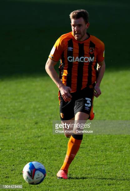 Callum Elder of Hull City during the Sky Bet League One match between AFC Wimbledon and Hull City at Plough Lane on February 27, 2021 in Wimbledon,...