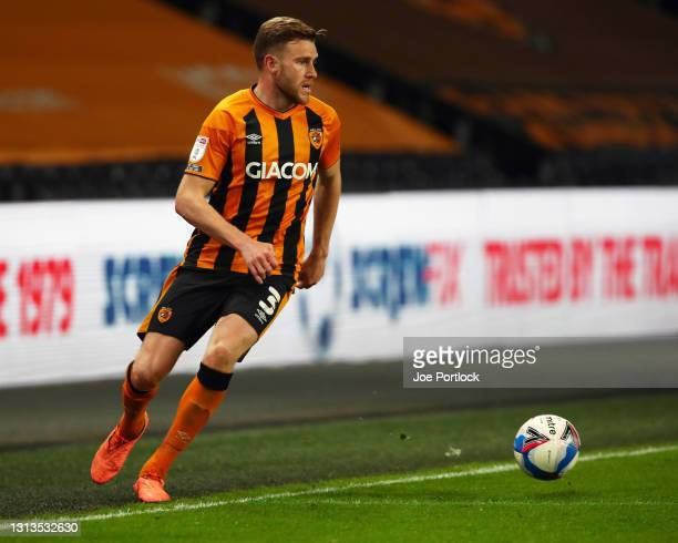 Callum Elder of Hull City seen in action during the Sky Bet League One match between Hull City and Sunderland at KCOM Stadium on April 20, 2021 in...