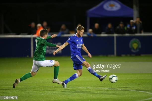Callum Elder of Leicester City in action with Anders Dreyer of Brighton and Hove Albion during the Premier League 2 match between Leicester City and...