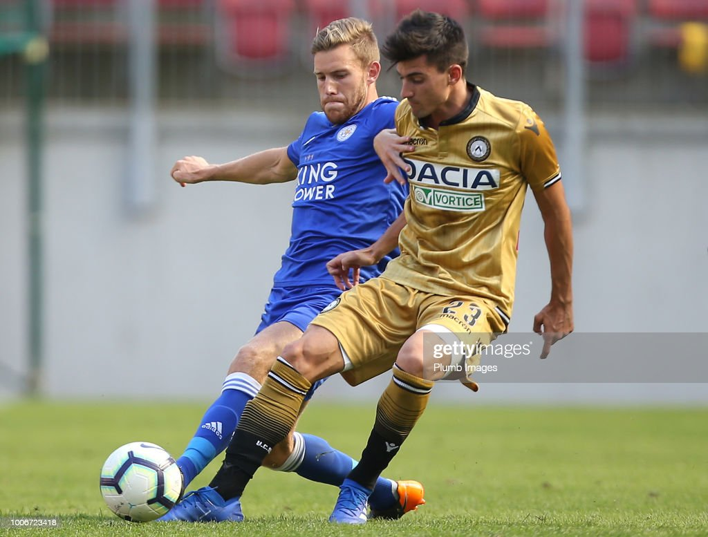 Callum Elder of Leicester City in action with Ignacio Pussetto of Udinese during the pre-season friendly match between Leicester City and Udinese at Worthersee Stadion on July 28, 2018 in Klagenfurt, Austria.