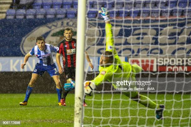 Callum Elder of Wigan Athletic scores a goal to make it 30 during The Emirates FA Cup Third Round Replay between Wigan Athletic v AFC Bournemouth at...