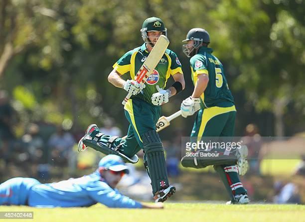 Callum Ferguson and Alex Doolan of Australia A run between the wickets during the Quadrangular One Day Series match between Australia A and India A...