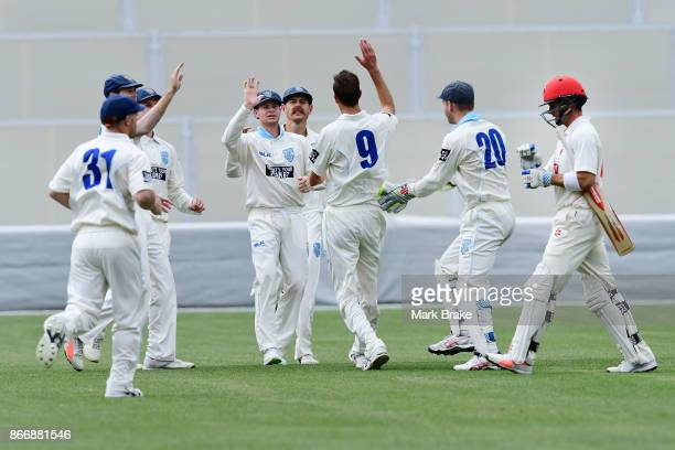 Callum Ferguson edges to Nic Maddison in slip and is caught off Trent Copelands bowling during day one of the Sheffield Shield match between South...