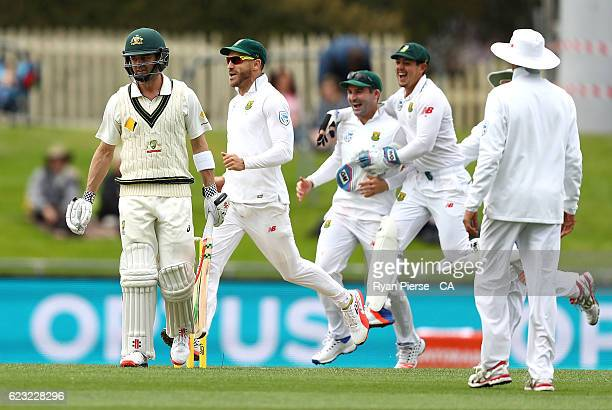 Callum Ferguson of Australia looks dejected after being dismissed by Kagiso Rabada of South Africa during day four of the Second Test match between...