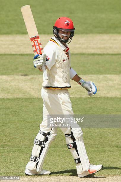 Callum Ferguson of South Australia celebrates his half century during day three of the Sheffield Shield match between Victoria and South Australia at...