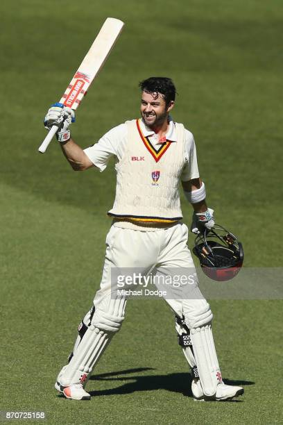 Callum Ferguson of South Australia celebrates making a century during day three of the Sheffield Shield match between Victoria and South Australia at...