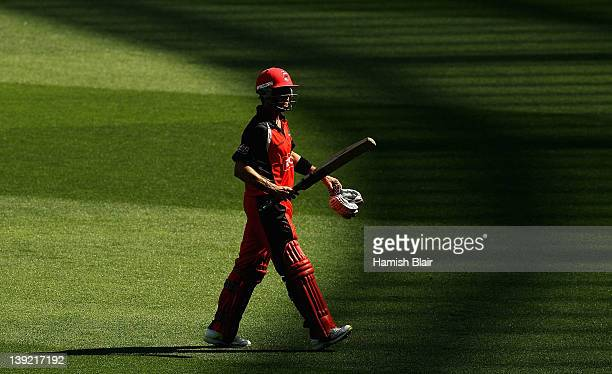 Callum Ferguson of South Australia leaves the field after being dismissed during the Ryobi Cup One Day match between the Victoria Bushrangers and the...