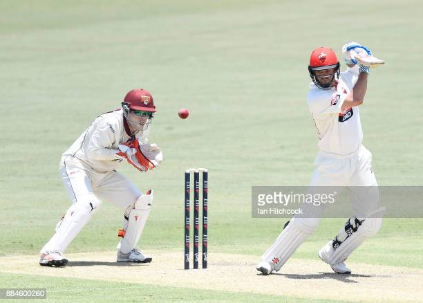 Callum Ferguson of the Redbacks bats during day one of the Sheffield Shield match between Queensland and South Australia at Cazaly's Stadium on...