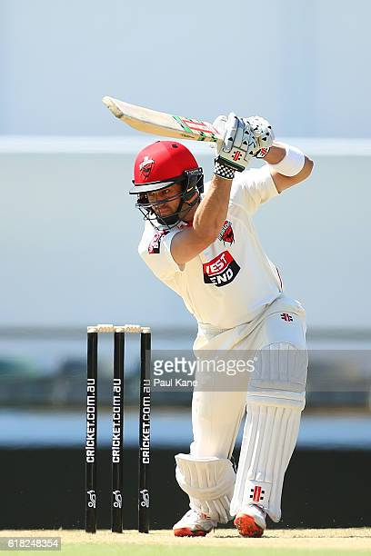 Callum Ferguson of the Redbacks bats during day two of the Sheffield Shield match between Western Australia and South Australia at the WACA on...