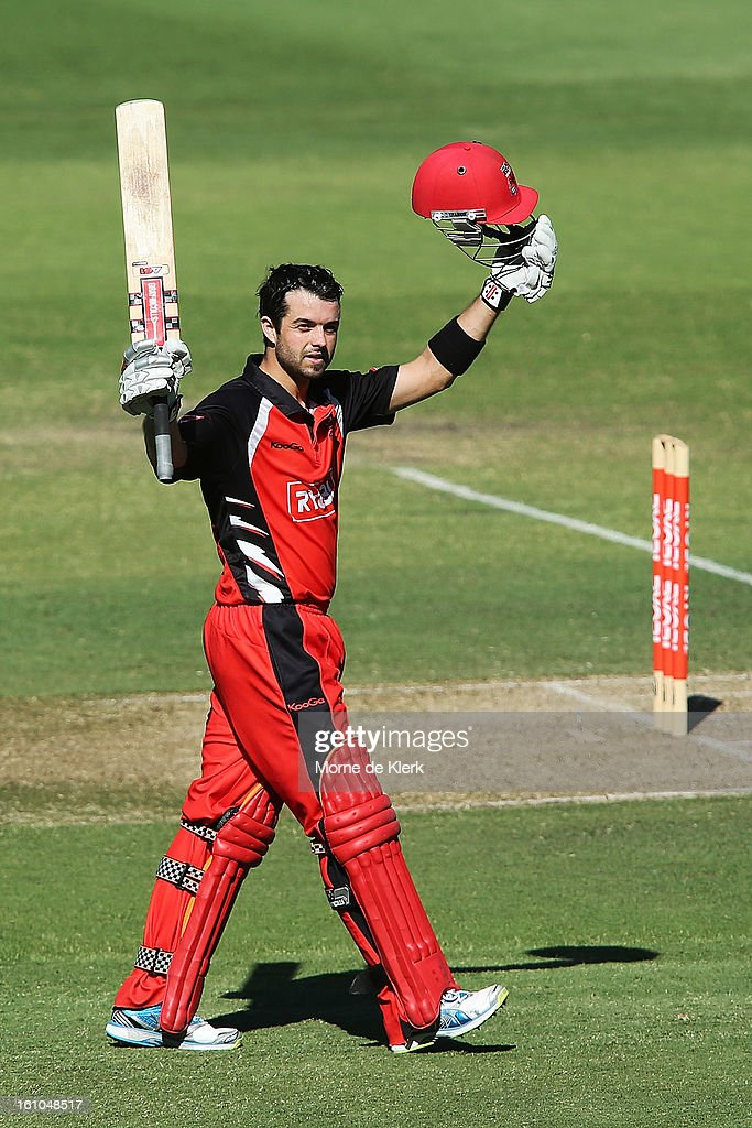 Callum Ferguson of the Redbacks celebrates after reaching 100 runs during the Ryobi One Cup Day match between the South Australian Redbacks and the Victorian Bushrangers at Adelaide Oval on February 9, 2013 in Adelaide, Australia.