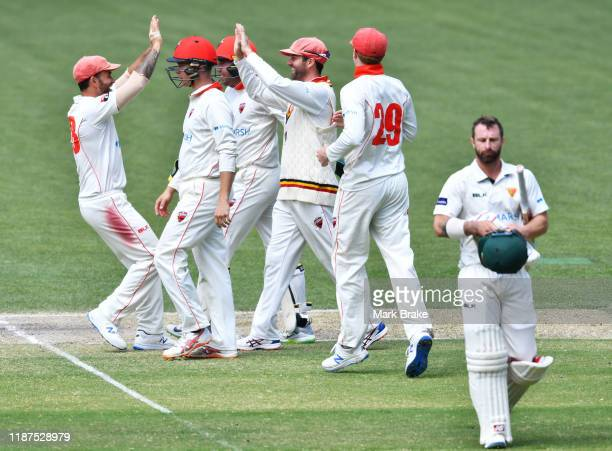 Callum Ferguson of the Redbacks celebrates catching Matthew Wade of Tasmania thev bowling of Tom Cooper of the Redbacks during day four of the...