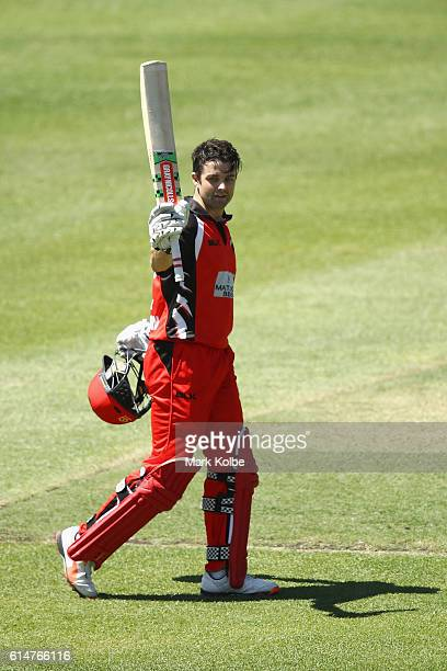 Callum Ferguson of the Redbacks celebrates his century during the Matador BBQs One Day Cup match between the Cricket Australia XI and South Australia...