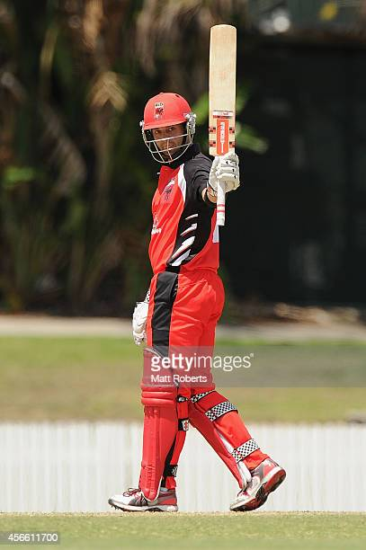 Callum Ferguson of the Redbacks celebrates his half century during the Matador BBQs One Day Cup match between New South Wales and South Australia at...