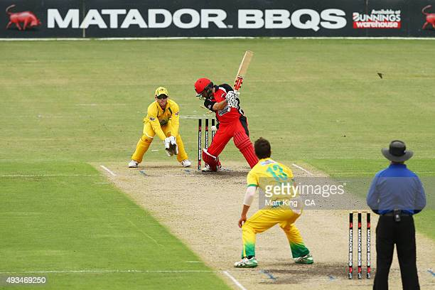 Callum Ferguson of the Redbacks is bowled by Mitchell Swepson of Cricket Australia XI during the Matador BBQs One Day Cup match between the Cricket...