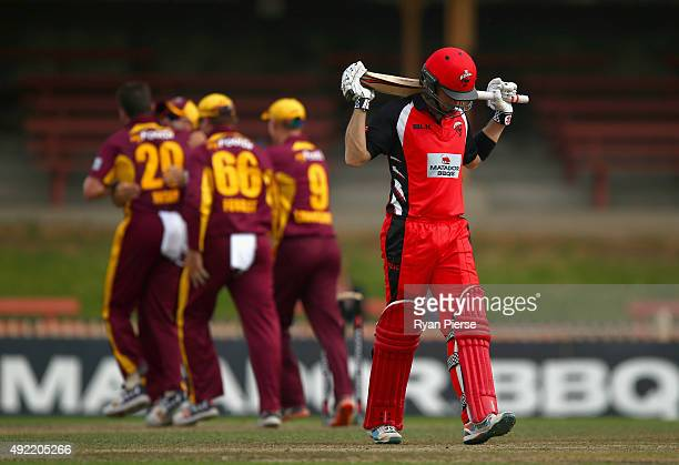 Callum Ferguson of the Redbacks looks dejected after being dismissed by Michael Neser of the Bulls during the Matador BBQs One Day Cup match between...