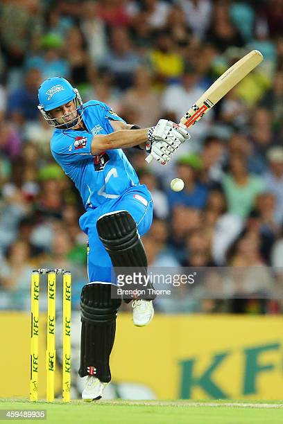 Callum Ferguson of the Strikers plays a stroke on the leg side during the Big Bash League match between Sydney Thunder and the Adelaide Strikers at...