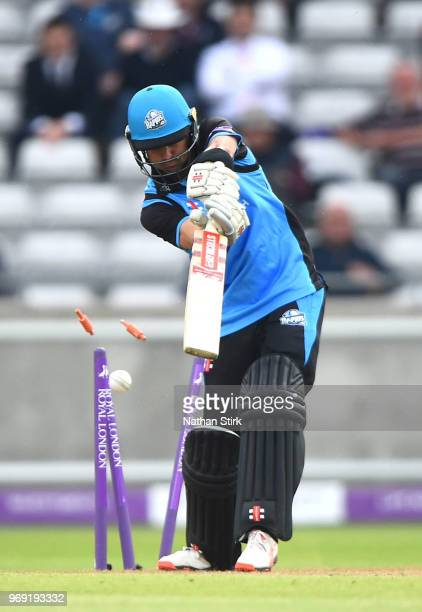 Callum Ferguson of Worcestershire is bowled during the Royal London One Day Cup match between Warwickshire and Worcestershire Rapids at Edgbaston on...
