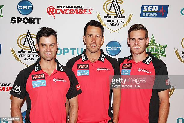 Callum Ferguson Tom Cooper and Nick Winter of the Renegades attend the Melbourne Stars Rivalry Lunch at Crown Palladium on December 16 2016 in...