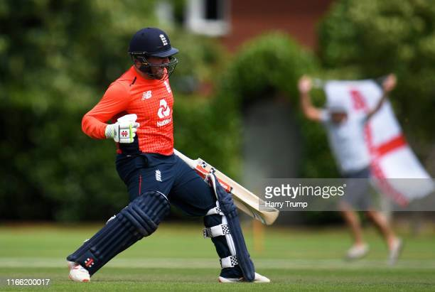 Callum Flynn of England celebrates after hitting the winning runs during the Physical Disability World Series match between England and Pakistan at...