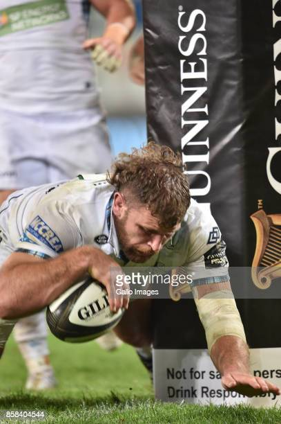Callum Gibbins of the Glasgow Warriors scores a try during the Guinness Pro14 match between Toyota Cheetahs and Glasgow Warriors at Toyota Stadium on...