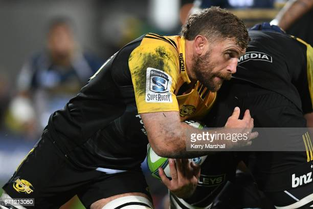 Callum Gibbins of the Hurricanes in action during the round nine Super Rugby match between the Hurricanes and the Brumbies at McLean Park on April 21...