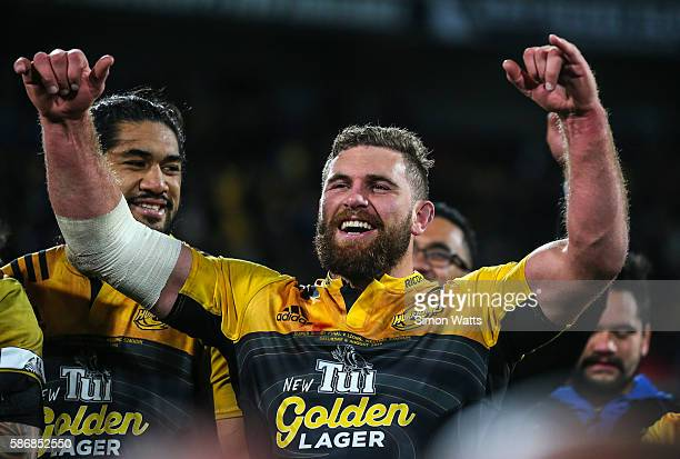 CAllum Gibbons of the Hurricanes celebrates after the Hurricanes won the 2016 Super Rugby Final match between the Hurricanes and the Lions at Westpac...