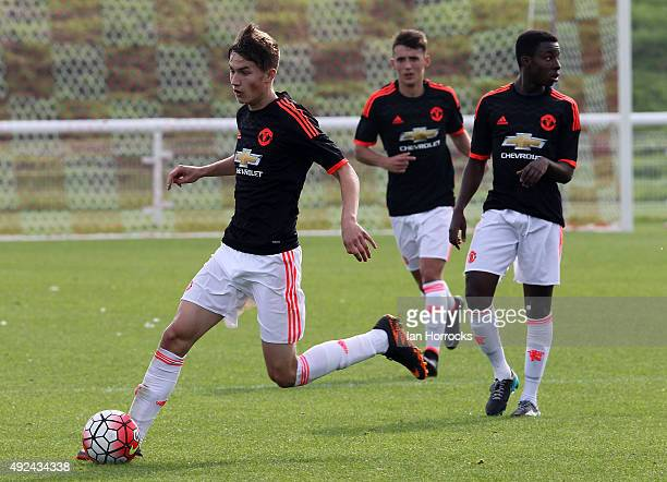 Callum Gribbin of Manchester United during the U18 Premier League match between Sunderland and Manchester United at The Academy of Light on October...