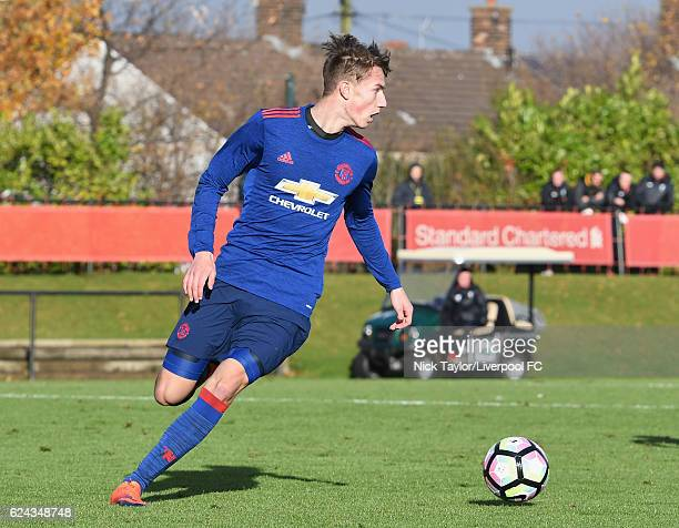 Callum Gribbin of Manchester United in action during the Liverpool v Manchester United U18 Premier League game at the Liverpool Football Club Academy...