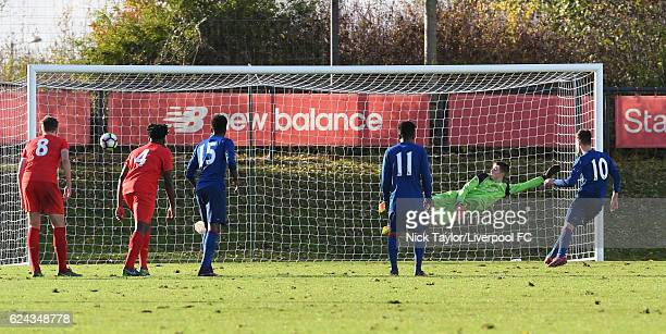 Callum Gribbin of Manchester United scores from the penalty spot during the Liverpool v Manchester United U18 Premier League game at the Liverpool...