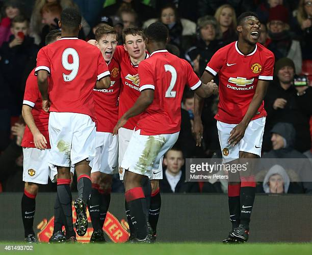 Callum Gribbin of Manchester United U18s celebrates scoring their third goal during the FA Youth Cup Fourth Round match between Manchester United...