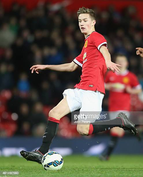 Callum Gribbin of Manchester United U18s in action during the FA Youth Cup Fourth Round match between Manchester United U18s and Hull City U18s at...