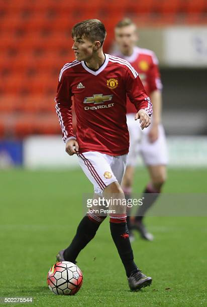 Callum Gribbin of Manchester United U18s in action during the FA Youth Cup third round match between Manchester United U18s and Queens Park Rangers...