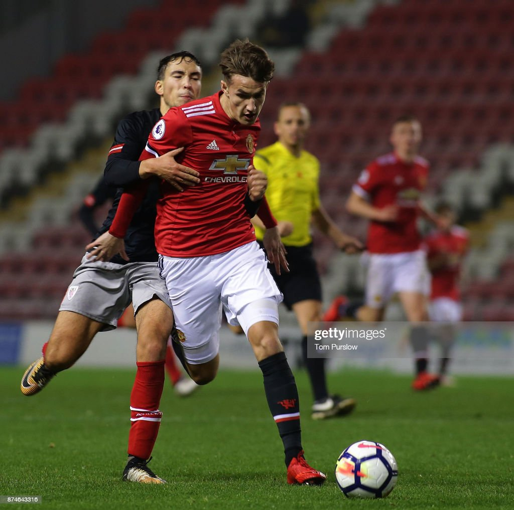 Callum Gribbin of Manchester United U23s in action during the Premier League International Cup match between Manchester United U23s and Athletic Bilbao U23s at Leigh Sports Village on November 15, 2017 in Leigh, Greater Manchester.