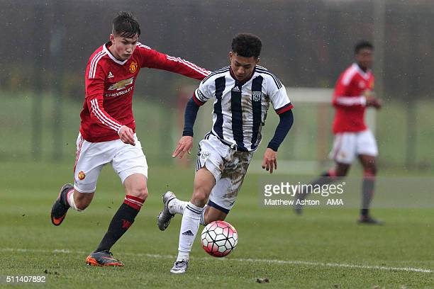 Callum Gribbon of Manchester United U18 and Chay Scrivens of West Bromwich Albion U18 during the U18 Premier League match between Manchester United...