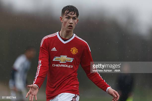 Callum Gribbon of Manchester United U18 during the U18 Premier League match between Manchester United and West Bromwich Albion at Aon Training...