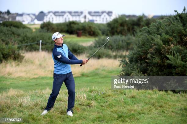 Callum Hill of Scotland plays their second shot on the 13th hole during Day three of the Alfred Dunhill Links Championship at Carnoustie Golf Links...