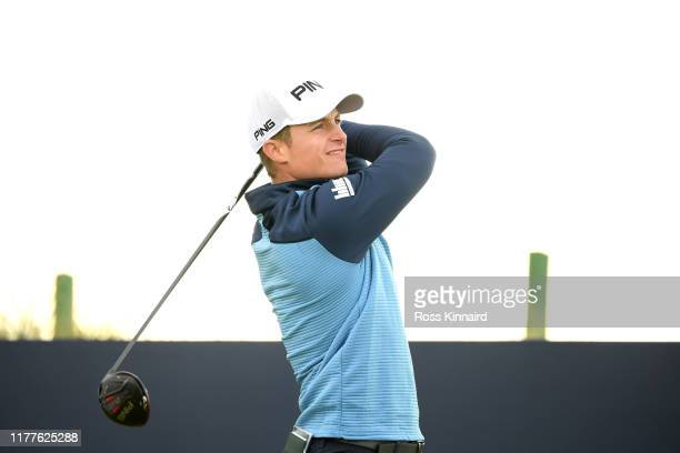 Callum Hill of Scotland tees off on the 3rd hole during Day three of the Alfred Dunhill Links Championship at Carnoustie Golf Links on September 28...